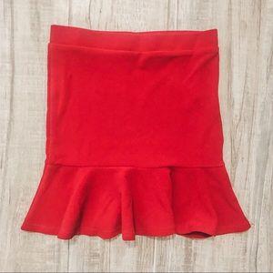 Red flutter mermaid miniskirt